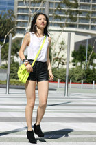 lime green Mondani New York for Target bag - black faux leather H&M shorts