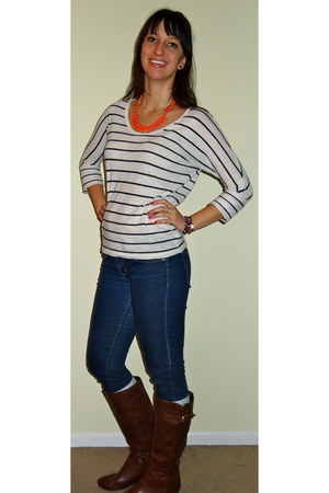 white striped Old Navy top - tawny wedge Target boots
