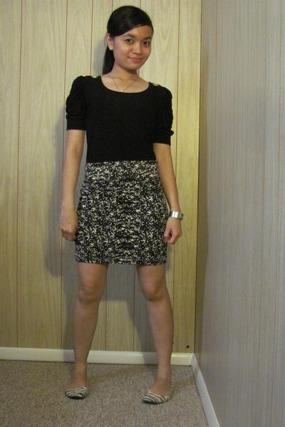 INC blouse - f21 skirt - flat shoes