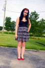 Red-lechateau-shoes-gray-h-m-dress-black-h-m-jeans