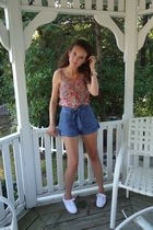 pink Forever 21 shoes - blue Forever 21 shorts - white Keds shoes