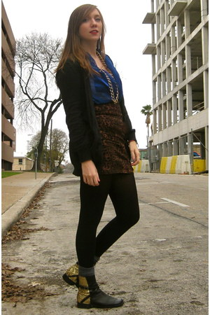 black DIY boots - black Charlotte Russe cardigan - blue sheer thrifted blouse