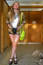 yellow gift purse - gold H&M blazer - black DIY shorts - white cotton on t-shirt