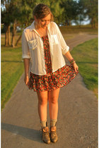 white Santee Alley blouse - tan texas junk company boots - red Goodwill dress