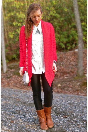 red Dillards cardigan - brown Nine West boots - black American Apparel leggings