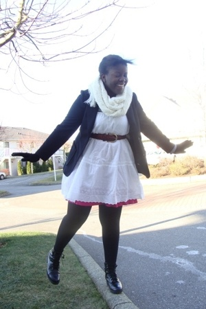 - - scarf - boots