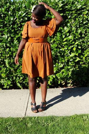 orange H&M dress - black Old Navy shoes - orange thrifted belt