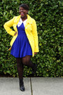 Blue-forever-21-dress-yellow-so-cute-modcloth-coat-white-thrifted-blouse