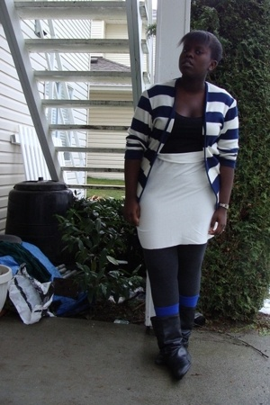 sweater - American Eagle t-shirt - skirt - socks - boots