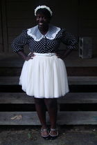 black thrifted shirt - white thrifted skirt - black thrifted shoes - white hat