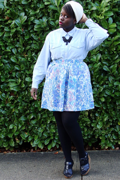 cream vintage turban hat - light blue thrifted denim shirt - light purple skirt