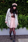 White-hat-beige-urban-renewal-coat-black-value-village-dress-pink-urban-ou