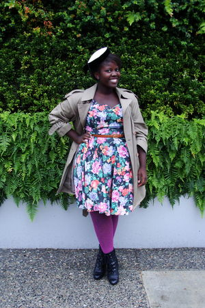 white hat - beige Urban Renewal coat - black Value Village dress - pink Urban Ou