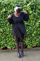 black thrifted dress - black thrifted jacket - black Old Navy wedges