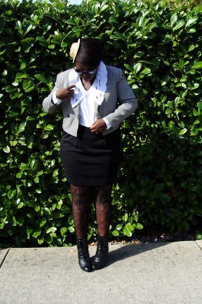 beige hat - white jacket - white blouse - black Joe Fresh skirt - black Urban Ou