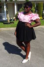 Pink-value-village-shirt-black-old-navy-skirt-white-shoes
