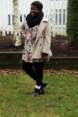 black H&M scarf - beige true value vintage dress - beige fletcher by lyell coat