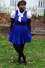 Blue-forever-21-dress-cream-h-m-blouse-black-hue-stockings-black-old-navy-