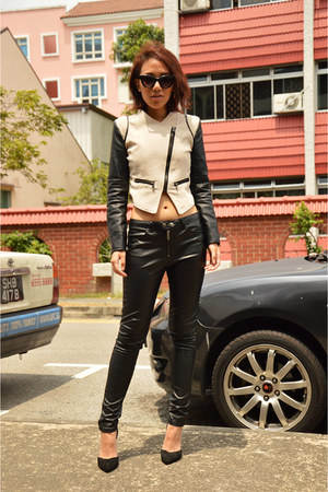 black cat eye cotton on sunglasses - off white leather biker PERSUNMALL jacket