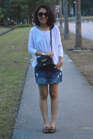 navy Pull & Bear skirt - crimson Topshop bag - dark brown cotton on sunglasses