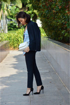 navy H&M blazer - white Lowrys Farm bag - navy H&M pants