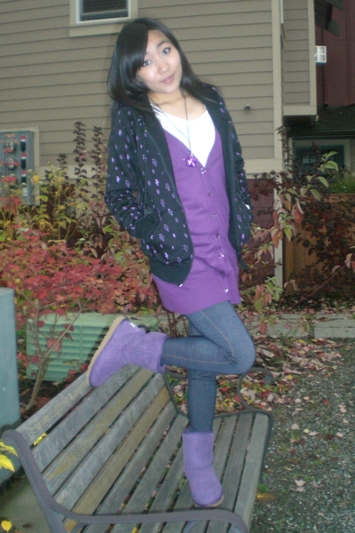 purple Zara sweater - purple Ugg boots - black local designer jacket