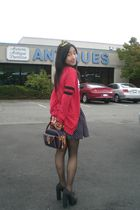 black Forever 21 shoes - blue dooney burke purse - black H&M skirt - red sears c