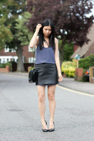 black Zara bag - light purple Topshop dress - black Topshop skirt