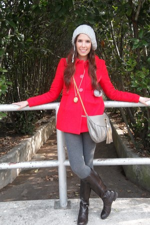dark brown Tommy boots - red Forever 21 coat - heather gray H&M leggings
