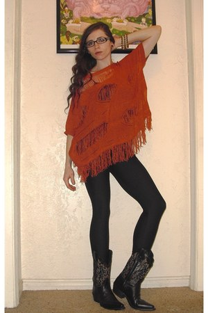 black embroidered Justin boots - burnt orange knit Angie sweater