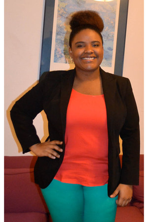 black blazer - red Old Navy blouse - green pants
