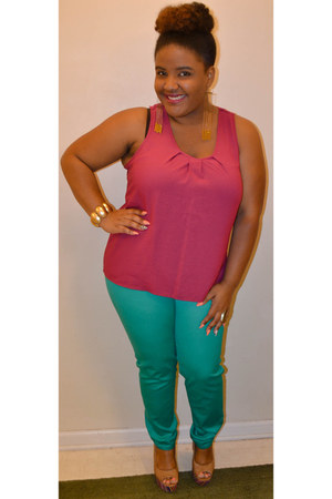 green Celebrity Blues pants - magenta blouse - light brown tribal print wedges