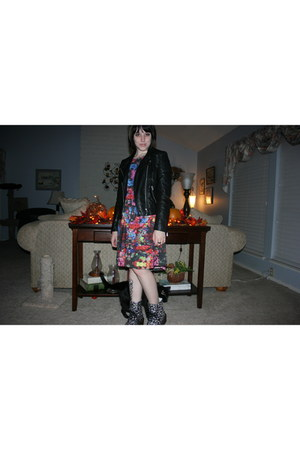 black floral doc martens boots - ruby red smock dress Mink Pink dress