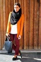 Zara blazer - Topshop scarf - Zara bag - Zara jumper - Topshop pants