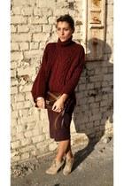 Zara jumper - Zara boots - vintage bag - Topshop skirt