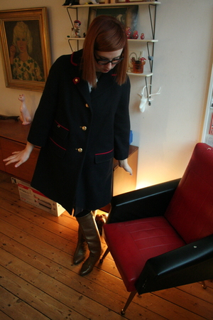 blue Luella coat - gold vintage boots