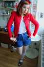 Red-kind-cardigan-blue-vintage-shorts-white-topshop-socks-black-swedish-ha