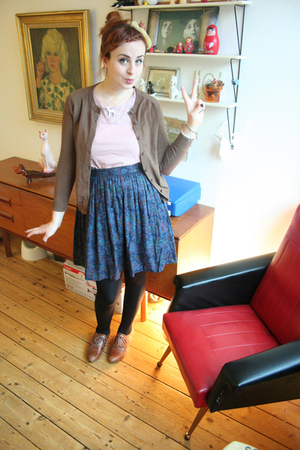 brown Office shoes - brown H&M cardigan - purple Vintage from Clever Nettle skir