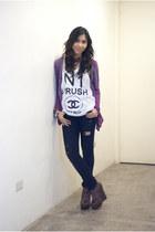 black Topshop jeans - purple cardigan - brown leopard print wedges - white t-shi