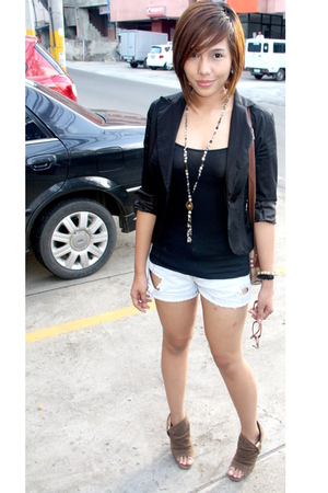black From HK blazer - black top - blue shorts - brown Janylin shoes