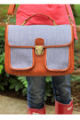 Burnt-orange-camera-jo-totes-bag-ruby-red-hunter-boots-navy-lee-jeans