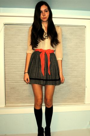 orange vintage belt - gray vintage skirt - beige Urban Outfitters blouse - black