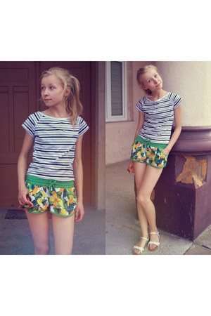 heather gray stripes vintage top - chartreuse bananas house shorts