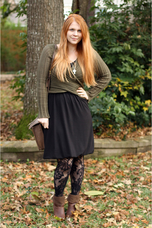 black Target dress - green nicole miller sweater - black Target tights - brown t
