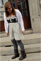 charolette russe boots - Old Navy tights - modcloth dress - Old Navy sweater - f