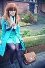 Turquoise-blue-motel-coat-black-tabio-tights-brown-matalan-bag