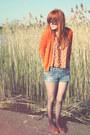Blue-river-island-shorts-tawny-topshop-vest-carrot-orange-zara-cardigan