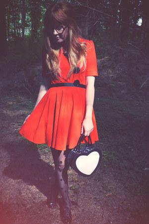 black Topshop bag - carrot orange TFNC dress