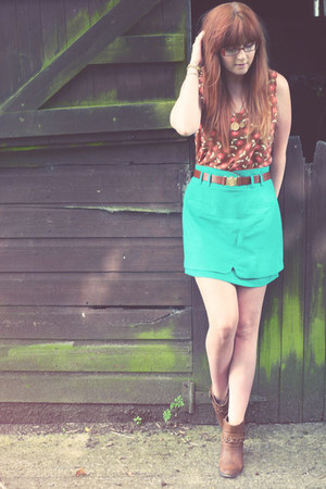 turquoise blue asos skirt - brown M&amp;S boots - burnt orange Topshop vest