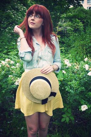 yellow Topshop skirt - camel Primark hat - sky blue River Island shirt